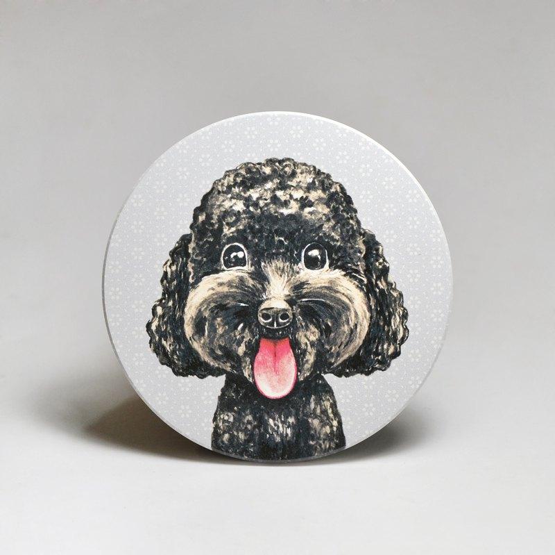 吸水陶瓷杯墊-黑貴賓 (送貼紙)(可加購客製文字)