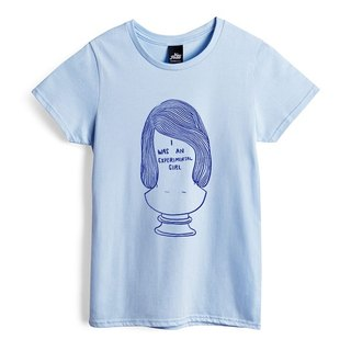 Experimental spirit girl - water blue - female version of T-shirt