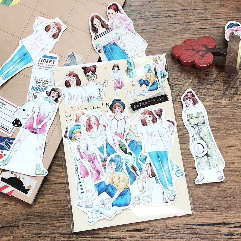 Weather sunny girl sticker set 18 pieces into