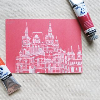 Russia - Moscow Red Square illustration postcard