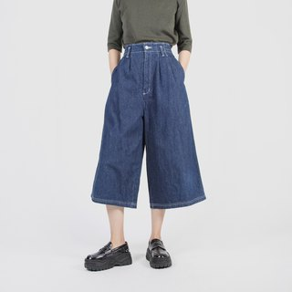 [Egg plant vintage] fallen silhouette vintage high waist denim wide pants