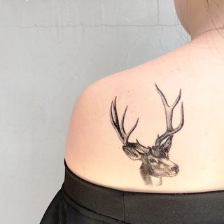 My Dear Tattoo / Temporary Tattoo / Deer and white plant / 2pcs