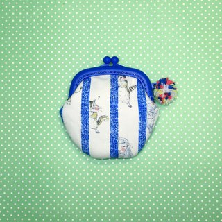 Animals hiding from peeks, blue gold coin purse / earphone bag