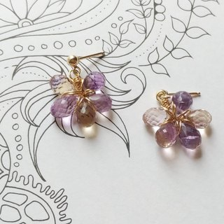 Purple Trivia - Water Drop Cutting Amethyst 14K Gold Earrings Ear Clip / 14KGF