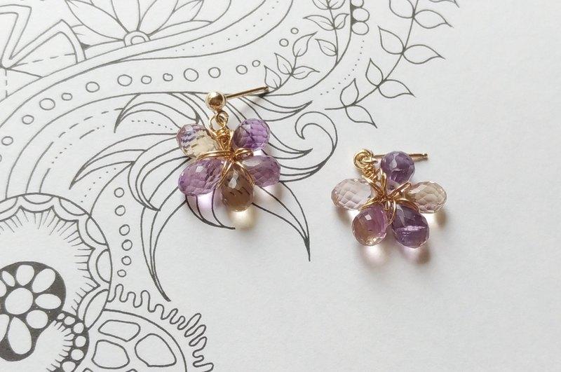 紫色花絮- 水滴切割紫水晶14K包金耳環耳夾 / 14KGF