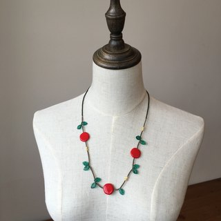 Bright red fruit necklace red fruit and green leaves necklace