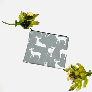 Deer Silhouette Cool Grey Small Zippered Bag/cosmetic bag/storage pouch