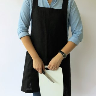100% Linen Criss Cross Apron, Japanese Apron, No Tie Apron in BLACK-ONE size fit ALL