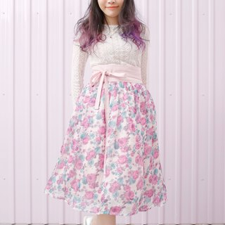 Handmade by Cherry everyday hanbok - a limited edition pink rose rose flower chiffon skirt waist skirt Korean dress