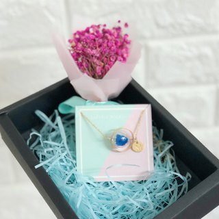 Initial A to Z Preserved Flower Glass Ball Necklace blue