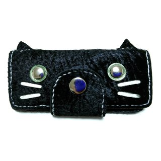 Marie / Mary genuine leather leather key case / black cat