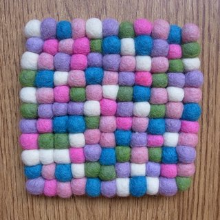 【Grooving the beats】 Potholder, Trivet, Pan Coaster, Pot holder, Felt ball Trivet(Square_13.5cm_Pink)