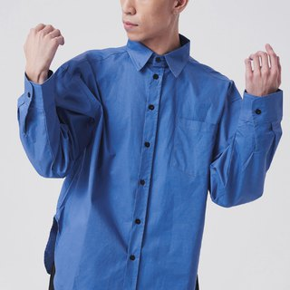 Black buckle plain simple shirt #9193