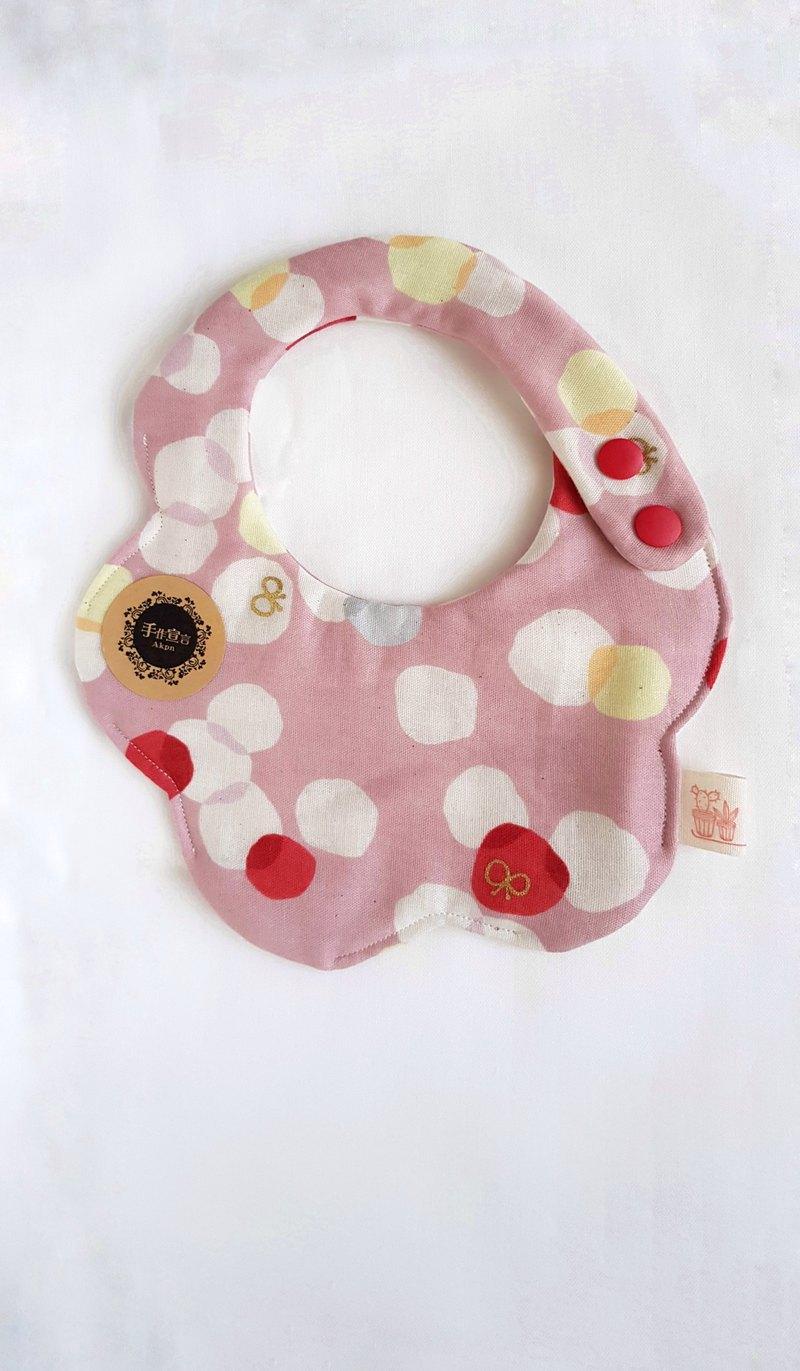 燙金粉彩水玉/八層紗100%cotton雙面圓弧圍兜.口水巾