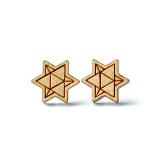 Plain wood earrings-Star