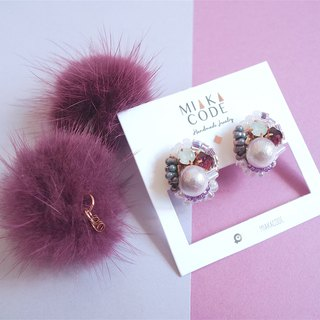Handmade beaded Swarovski crystal gradient cotton wool purple fur ball Japan anti-allergic ear / ear clip