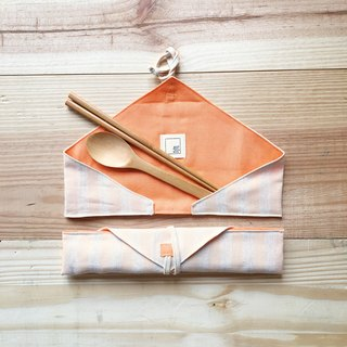 DailyPOUCH including chopsticks & spoon Beige & Orange