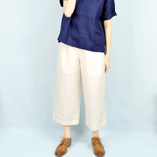 [Beige] HIKIDASHI anesthesia. Eight wide pants