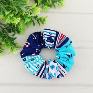 Blue ocean wind. Handmade donut hair bundle / large intestine ring