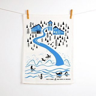 forest & Waves tablecloth / northwest coast of Northwest Coast Teatowel
