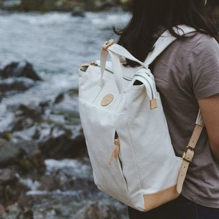 Multi-Functional Water-resistant Handmade Canvas Backpack White