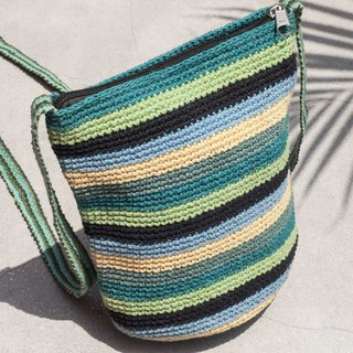 Graduation Gifts Birthday Gifts Star Festival Gifts Natural Cotton Crocheted Messenger Bags / Wayuu Backpacks / Side Backpacks / Shoulder Bags / Travel Bags / Hand Knitted Bags / Hand Knit Bags-Vanilla Matcha Tea Rainbow Stripes