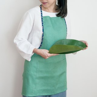 Linen Apron in Green with Blue Floral Edge Handmade Simple Apron Gift