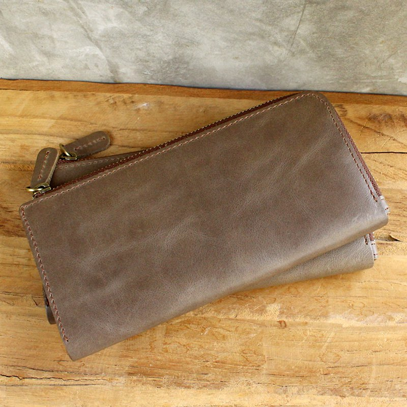 Leather Wallet - X1 - Khaki Grey (Genuine Cow Leather) / Phone Bag / Long Wallet