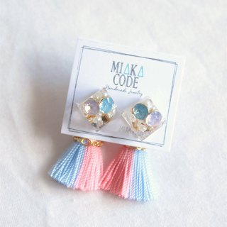 Ice cube earrings/ear-clips with pantone colour tassels (Pink+blue)