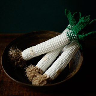 Hand-knitted Japanese green onions
