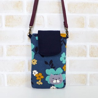 丫喵Mobile phone bag - dark blue color extension flower (with strap)