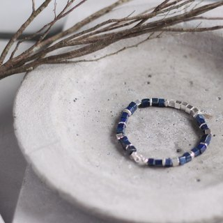 ( Specially increased version of 21cm ) Qing Shi Yin Jing. natural ore bracelet natural lapis lazuli mysterious blue enhance spirituality smooth body and mind simple texture 925 sterling silver bracelet bracelet