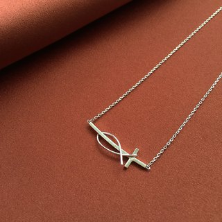 Cross lchthys Necklace 925 Sterling Silver