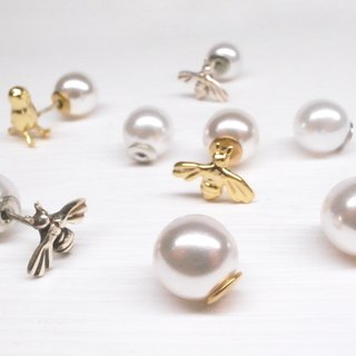 二毛银【Imitation Pearl Earrings】gold pair
