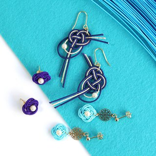 Goody Bag / blue / japanese style pierce earring / mizuhiki / japan / accessory
