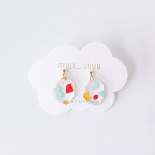 Sweet Planet Series - Color Fruit Planet Dangle Hand-painted Transparent Handmade Earrings Ear/Ear clip