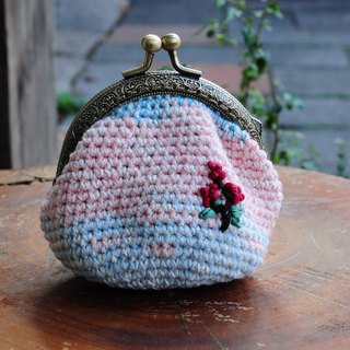 Hand Hook Cotton Twine Embroidery Gold Coin Purse - Dream Pink Blue Saffron