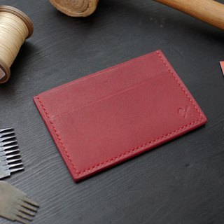 [Christmas limited offer] simple business card holder - wine red [Fu Lie area carved leather]