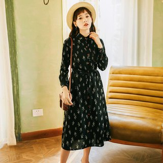 2018 autumn women's new shirt-style print dress dress
