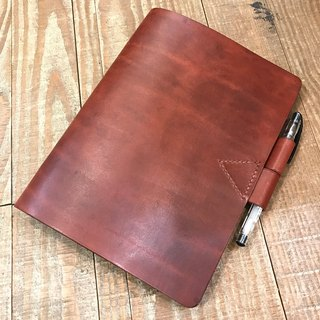 Handmade hand-dyed leather A5 20-hole loose-leaf notebook (free printing, embroidered words)