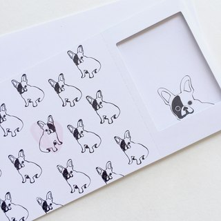 Pin Cards -  Coloring / Color Bulldog - Greeting Frame Card『buy 2 for free shipping』