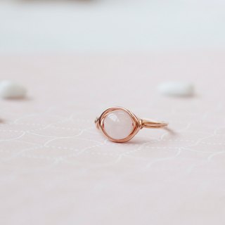 Pink crystal cherry rose gold 14k gold ring (14KGF) Note gold US-made gold line hypo-Senecio