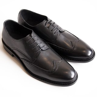 [LMdH] D1A72-99 hand-colored calf leather with wood grain carved wing Derby Shoes Men - Black - Free Shipping