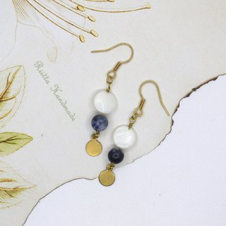 Pearl shell blue stone brass earrings ear clip
