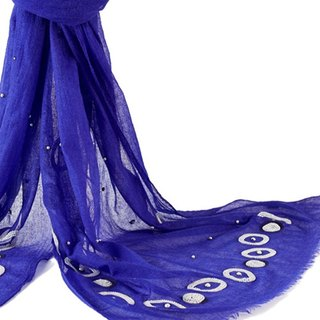 [ANGEL WOOLEN] Exquisite Beaded (Bright Blue) Pashmina Indian Handmade Shawl Scarf