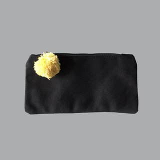 Hair ball black canvas pencil bag / cosmetic bag
