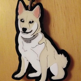 Lectra duck dog ♣ ♣ color (custom) Exclusive Boutique key ring / necklace] [Shiba Inu