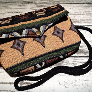 AMIN'S SHINY WORLD handmade custom jacquard ethnic old seagull cover copper shoulder bag