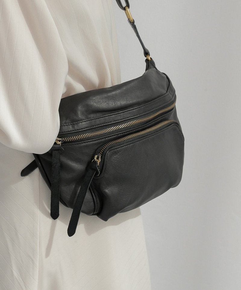 Rate metal leather waist bag personality black