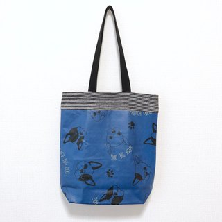 Tarpaulin side backpack / rectangular / blue dog head